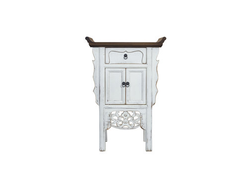 Fine Asianliving Chinese Console Table Vintage White Handmade Carvings W58xD35xH84cm