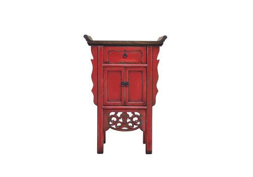 Fine Asianliving Chinese Sidetable Handgesneden Rood B58xD35xH84cm
