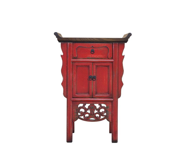 Chinese Sidetable Handgesneden Rood B58xD35xH84cm