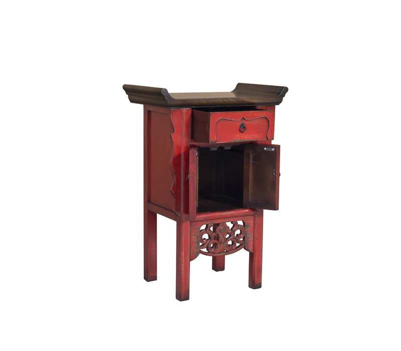 Chinese Console Table Vintage Red Handmade Carvings W58xD35xH84cm