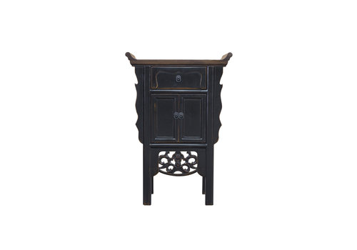 Fine Asianliving Chinese Console Table Vintage Black Handmade Carvings W58xD35xH84cm