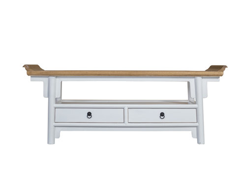 Fine Asianliving Chinese TV Stand Bench White - Qiaotou W140xD38xH55cm