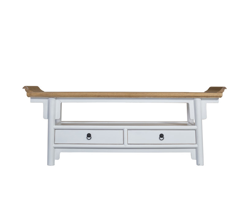 Chinese TV Cabinet White Qiaotou W140xD38xH55cm
