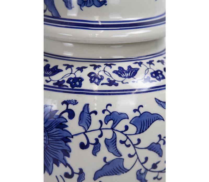 Chinese Gemberpot Blauw Wit Handbeschilderd Porselein D25xH46cm