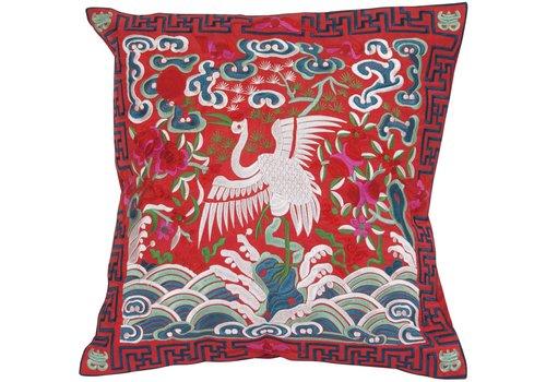 Fine Asianliving Chinese Kussen Volledig Geborduurd Rood Kraanvogel 40x40cm