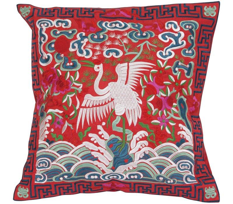 Chinese Cushion Red Crane 40x40cm