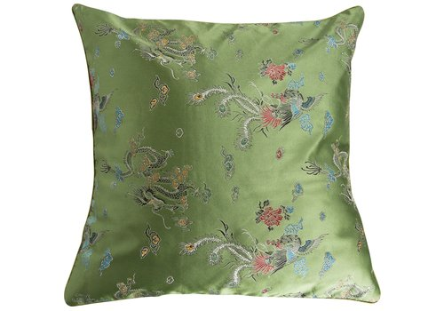 Fine Asianliving Fine Asianliving Chinese Cushion Green Dragons 40x40 No Cotton Filling