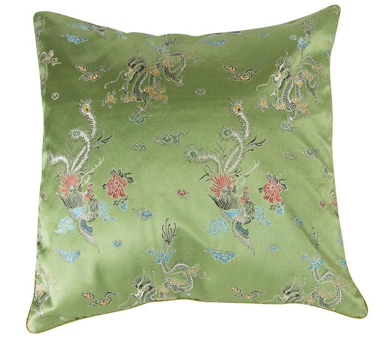 Chinese Cushion Green Dragons 40x40 No Cotton Filling