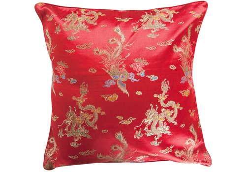 Fine Asianliving Housse de Coussin Chinoise Rouge Dragon 40x40cm