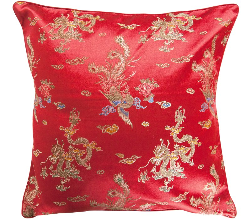Chinese Cushion Cover Red Dragon 40x40cm No Cotton Filling