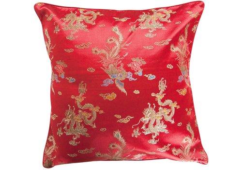 Fine Asianliving Chinesisches Kissen Rot Drache 40x40cm
