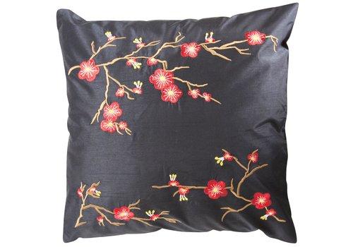 Fine Asianliving Chinese Decoratieve Kussenhoes 45x45cm Sakura Zwart Zonder Vulling