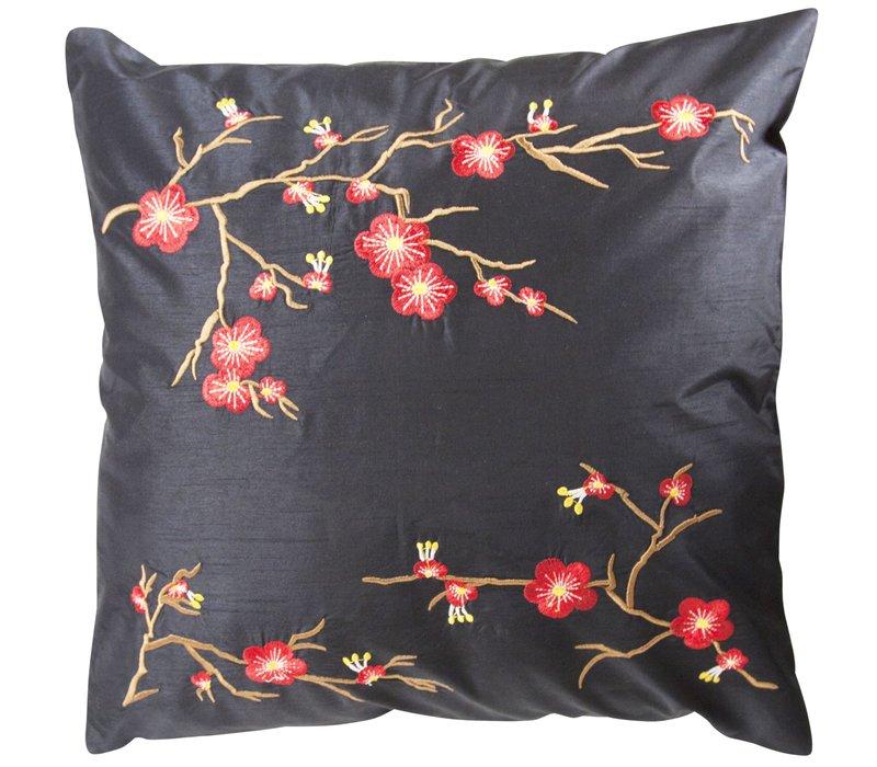 Chinese Decoratieve Kussenhoes 40x40cm Sakura Zwart Zonder Vulling