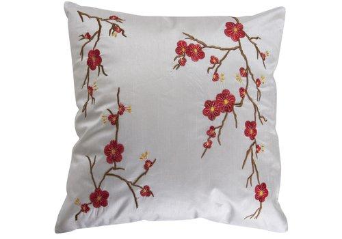 Fine Asianliving Housse de Coussin Chinoise Blanche Cerisier en Fleurs 40x40cm