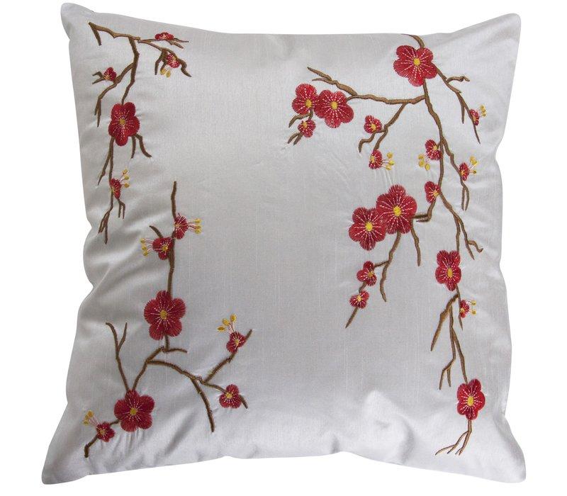 Housse de Coussin Chinoise Blanche Cerisier en Fleurs 40x40cm
