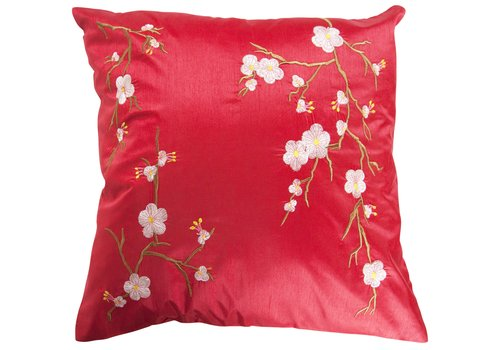Fine Asianliving Chinese Cushion Cover Sakura Cherry Blossoms Red 40x40cm without Filling
