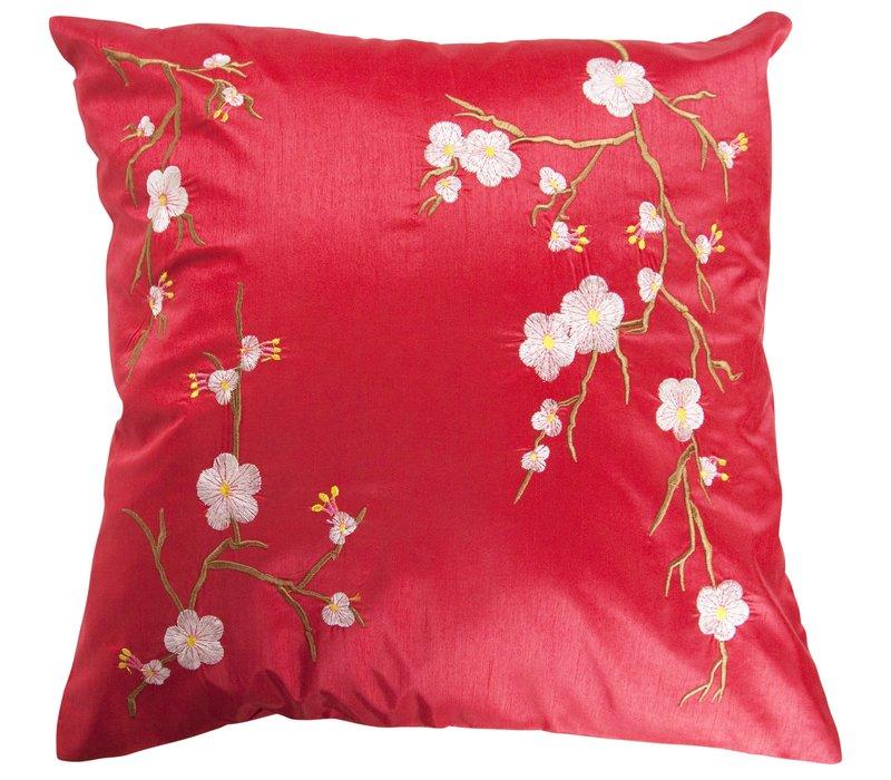 Chinese Cushion Sakura Cherryblossoms Red 40x40cm Zonder Cushion