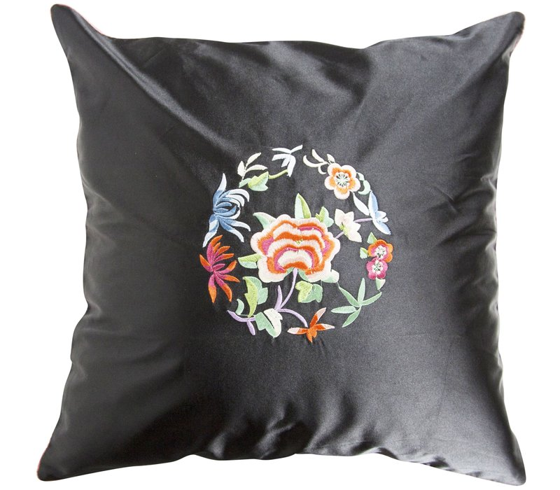Chinese Cushion Cover Black Flowers 40x40cm without Filling