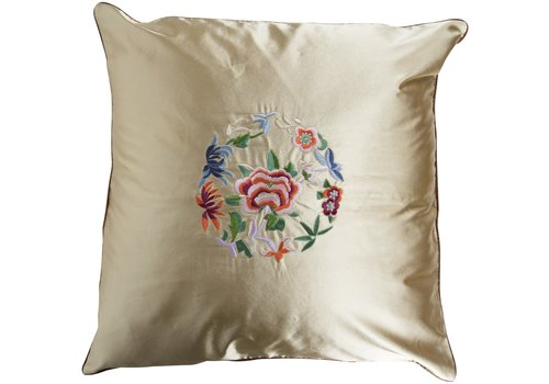 Fine Asianliving Chinese Cushion Yellow Flowers 40x40cm