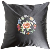 Chinese Cushion Black Flowers 40x40cm