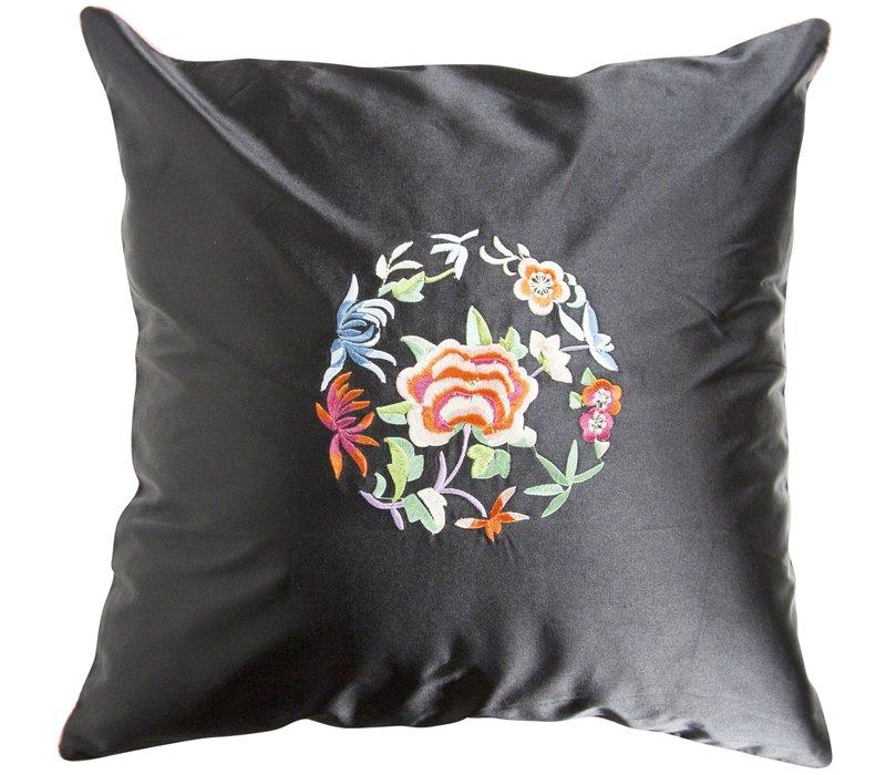 Chinesisches Kissen Schwarz Blumen 40x40cm