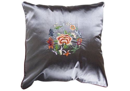 Fine Asianliving Fine Asianliving Chinese Cushion LilacGrey Flowers 40x40cm