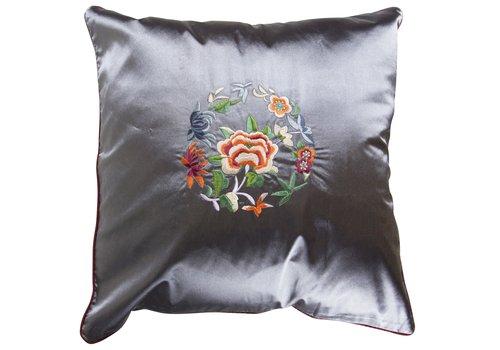 Fine Asianliving Fine Asianliving Decoratieve Kussen Chinese Bloemen Geborduurd LilacGrey  40x40cm
