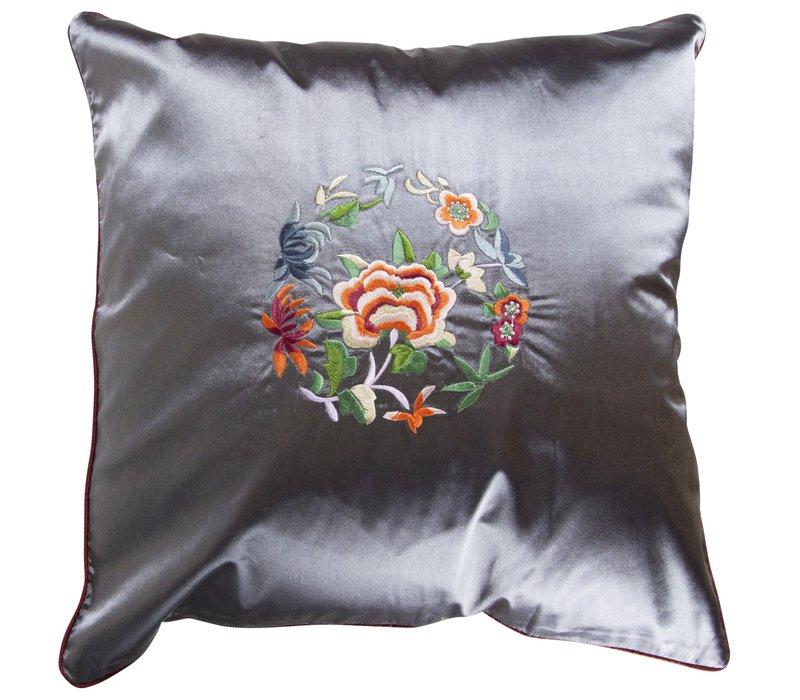 Decoratieve Kussen Chinese Bloemen Geborduurd LilacGrijs  40x40cm