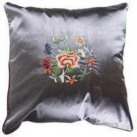 Chinese Cushion Cover 40x40cm Grey Flowers without Filling