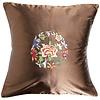 Fine Asianliving Fine Asianliving Decoratieve Kussen Chinese Bloemen Geborduurd Bruin 45x45cm