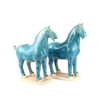 Chinees Paard Tang Dynasty Terracotta Keramiek Handgemaakt Blauw Set/2