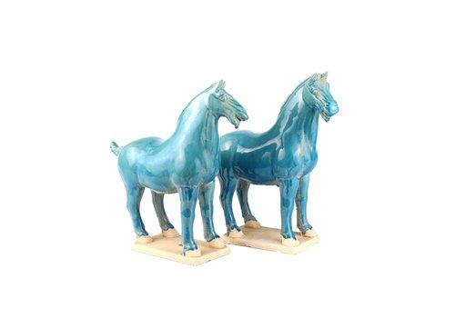 Fine Asianliving Chinees Paard Tang Dynasty Terracotta Keramiek Handgemaakt Blauw Set/2