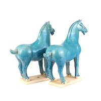 Chinese Horse Tang Dynasty Terracotta Pottery Handmade Blue Set/2
