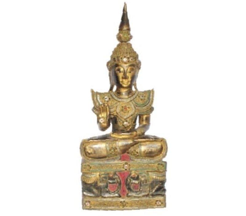 Iwa Royal Zittende Boeddha Olifanten Zwart Goud Handgemaakt Massief Hout L45xB32xH75cm