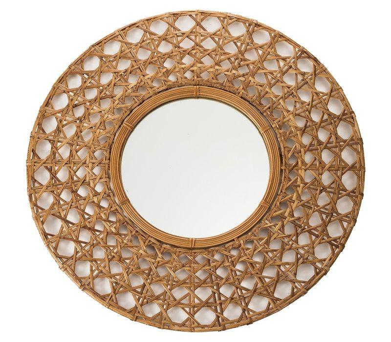 Round Wall Mirror Frame Handweaved Tapnigi D70x6cm Thick