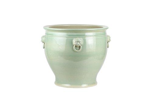 Fine Asianliving Pot en Céramique Chinois Lion Gardien Chinois Menthe L43xH42cm