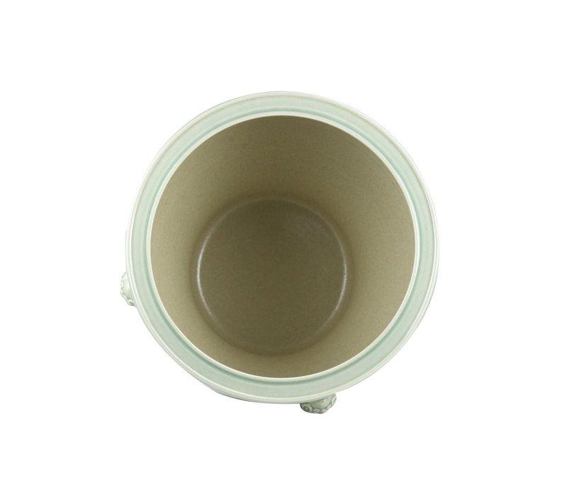 Chinese Pot Mint Temple Guardian Lions Ceramic Porcelain W43xH42cm