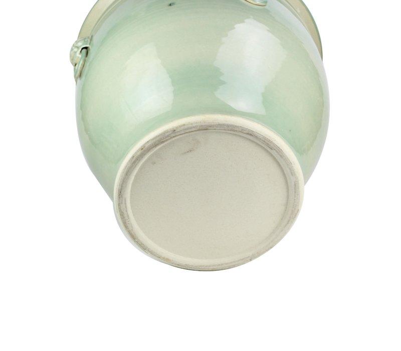 Chinesische Vase Topf Porzellan Keramik Wächterlöwe Mint B43xH42cm