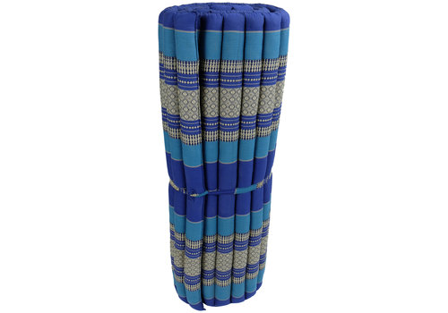 Fine Asianliving Matelas Thaï Enroulable en Coton et Kapok - 100x200cm - Bleu