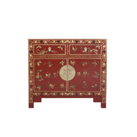Chinese Sideboard Hand-painted Butterflies Scarlet Rouge W90xD40xH80cm