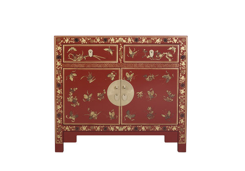 Fine Asianliving Chinese Sideboard Hand-painted Butterflies Scarlet Rouge W90xD40xH80cm