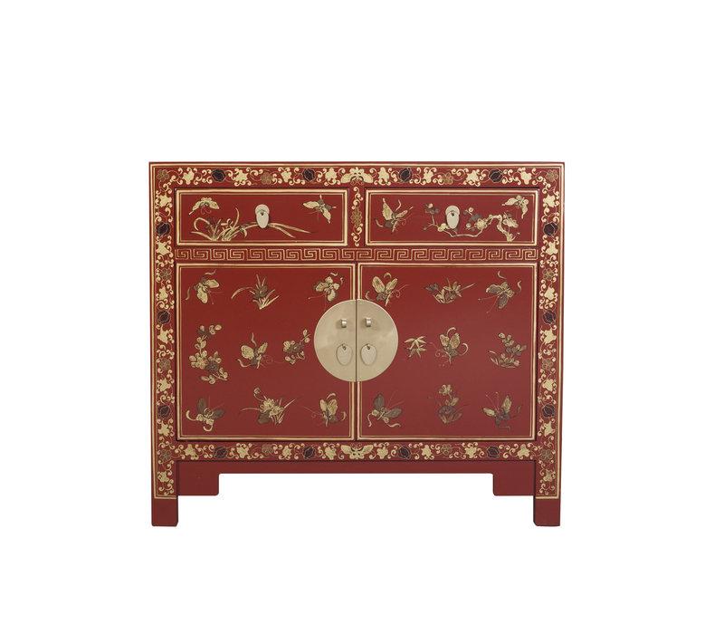 Buffet Chinois avec Papillons peints à la Main écarlate Rouge L90xP40xH80cm