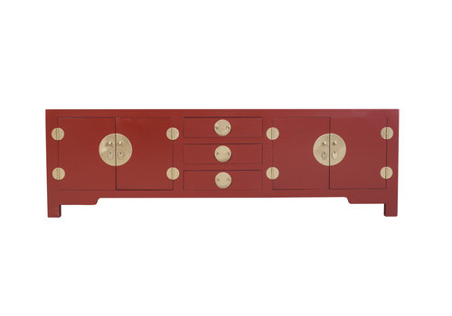 Fine Asianliving Chinese TV Stand Bench Ruby Red - Orientique Collection W175xD47xH54cm