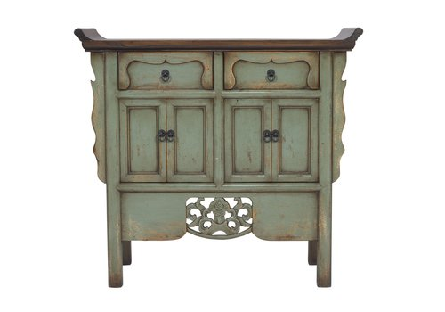 Fine Asianliving Chinese Sideboard Hand-carved Vintage Mint W90xD35xH85cm