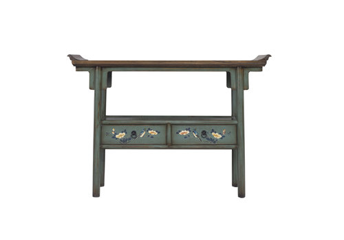 Fine Asianliving Chinese Console Table Handpainted Blue