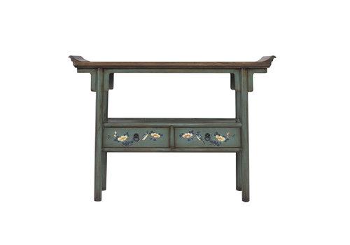 Fine Asianliving Table Console Chinoise Peinte à la Main Bleu