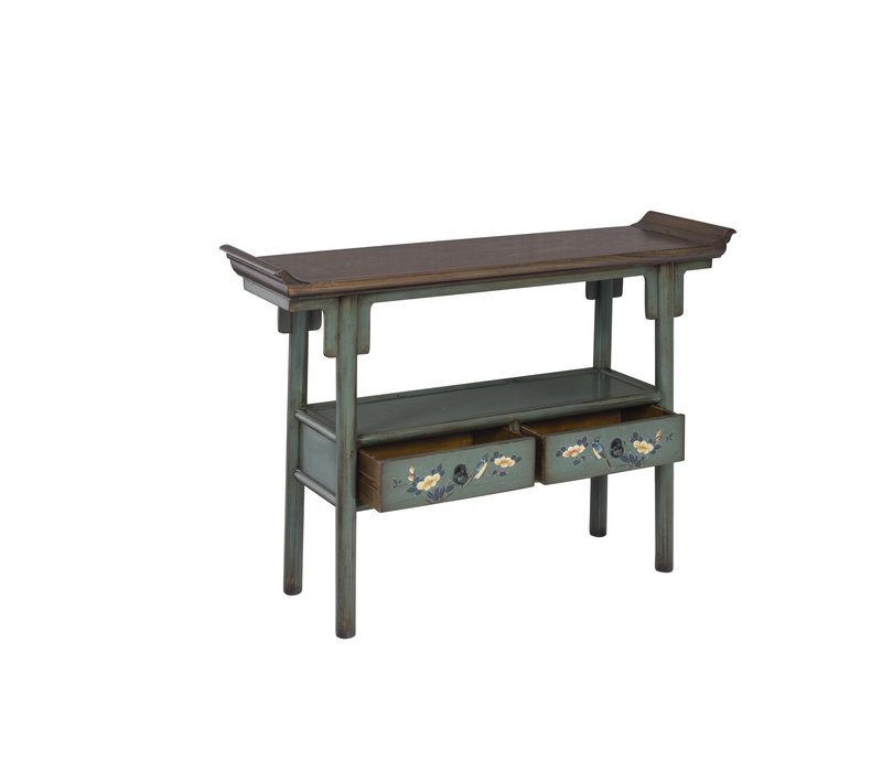 Chinese Console Table Hand-painted Blue