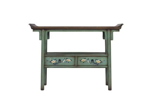 Fine Asianliving Chinese Console Table Hand-painted Aqua Blue
