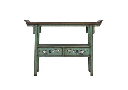 Fine Asianliving Table Console Chinoise Peinte à la Main Bleu Eau