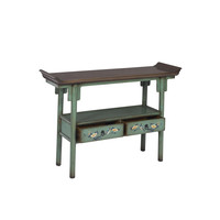 Chinese Console Table Hand-painted Aqua Blue